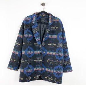 Forever 21 Tribal Aztec Blazer Coat Blue Black L